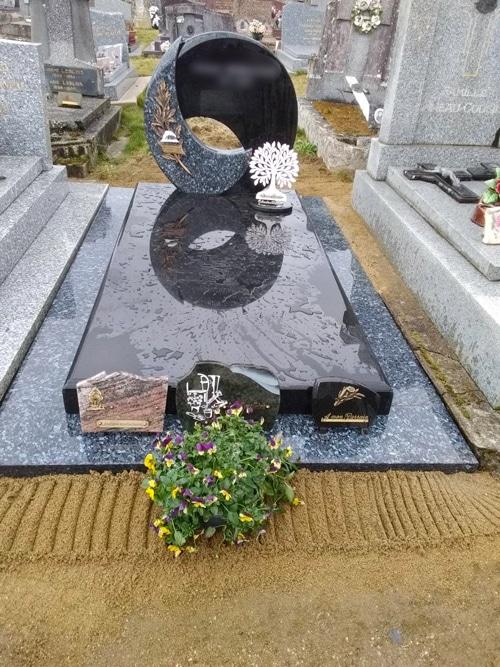 Concept marbre - monument funéraire gris - noir